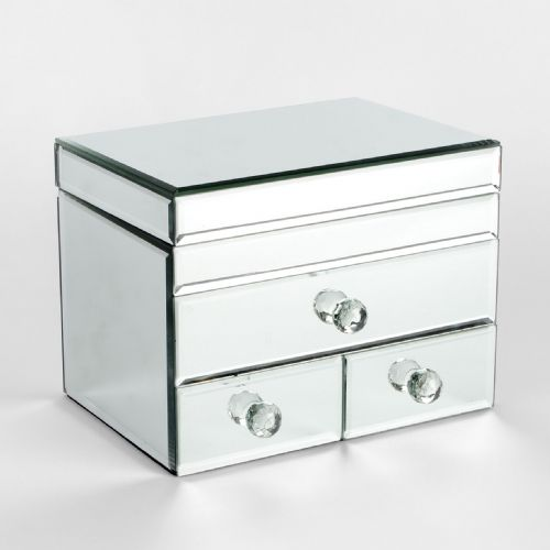 Mirror Glass Jewellery Box with 3 drawers ladies gift